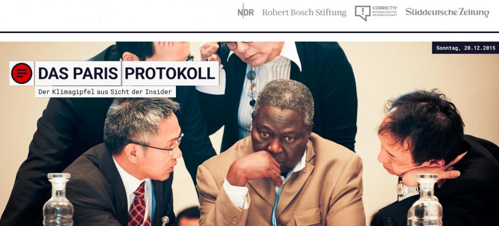 Titelbild der Website Paris-Protokoll: Fünf Personen, sitzen müde und grübelnd zusammen, als hätten sie schon sehr lange debattiert.
